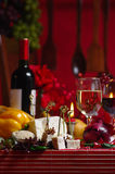 Noble cheese and wine in romantic setting Royalty Free Stock Photo