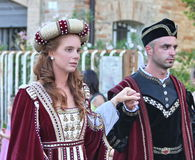 Noble couple in medieval costumes Stock Photography