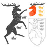 Noble Deer Illustration. For Heraldry Or Tattoo Design  On White Background. Heraldic Symbols And Elements Royalty Free Stock Photography