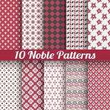 Noble elegant vector seamless patterns (tiling). 10 Noble elegant vector seamless patterns (tiling). Retro red, black and white colors. Endless texture can be Royalty Free Stock Photography
