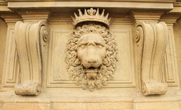 Noble facade. Lion head relief on the facade of Pitti Palace, Florence, Italy Royalty Free Stock Photography