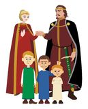 Noble Family on White. Picture of a medieval noble family Stock Image
