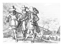 Noble Germans, XVII century engraving Stock Photography