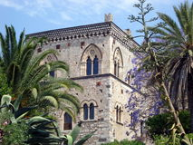 Noble Palace in Sicily, Italy. The picture shows a noble palace near Taormina, Sicily, Italy. You can appreciate the  building style of the Baroque era Royalty Free Stock Image
