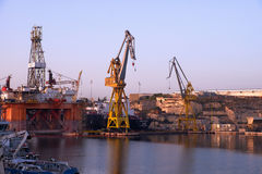 The Noble Paul Romano Oil rig in the Palumbo Shipyards, Malta. Royalty Free Stock Photo
