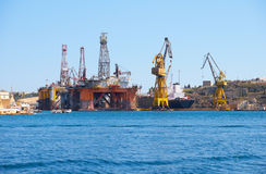 The Noble Paul Romano Oil rig in the Palumbo Shipyards, Malta. Royalty Free Stock Photos
