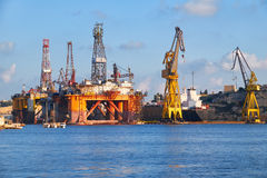 The Noble Paul Romano Oil rig in the Palumbo Shipyards, Malta. The Noble Paul Romano Oil rig in the Palumbo Shipyards in Cospicua (Bormla), Malta Stock Photo