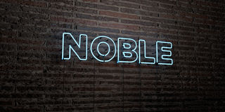 NOBLE -Realistic Neon Sign on Brick Wall background - 3D rendered royalty free stock image. Can be used for online banner ads and direct mailers Royalty Free Stock Photo