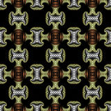 Noble seamless pattern with golden, silver and bronze decorative elements on black background Royalty Free Stock Photo