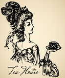 Noble vintage lady. Vintage lady ink scetch for cafe or restaraunt Royalty Free Stock Image