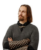 Noble warrior in medieval mail armor Stock Photos