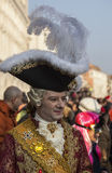 Nobleman. Venice, Italy- February 18th, 2012: Image of a person disguised as a traditional medieval nobleman during the Venice Carnival days Stock Photography