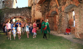 Nobleman Puta and visitors of castle stock images