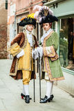 Noblemans. Portrait of two medieval aristocratic noblemans in Venice royalty free stock image