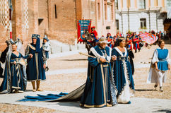 Nobles in medieval costumes Royalty Free Stock Images