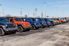 Jeep Wranglers on display at a Chrysler Jeep dealership. The subsidiaries of FCA are Chrysler, Dodge, Jeep, and Ram V. Noblesville - Circa April 2019: Jeep royalty free stock photos
