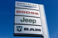 Logo and Dealership Signage of the four American Subsidiaries of FCA - Chrysler, Dodge, Jeep and Ram Trucks I. Noblesville - Circa April 2019: Logo and stock photo