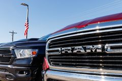 Ram 1500 on display at a Chrysler Ram dealership. The subsidiaries of FCA are Chrysler, Dodge, Jeep, and Ram I. Noblesville - Circa April 2019: Ram 1500 on royalty free stock image