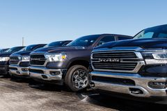 Ram 1500 on display at a Chrysler Ram dealership. The subsidiaries of FCA are Chrysler, Dodge, Jeep, and Ram II. Noblesville - Circa April 2019: Ram 1500 on royalty free stock photos