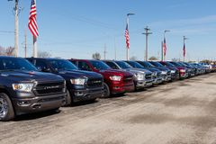 Ram 1500 on display at a Chrysler Ram dealership. The subsidiaries of FCA are Chrysler, Dodge, Jeep, and Ram III. Noblesville - Circa April 2019: Ram 1500 on royalty free stock photography