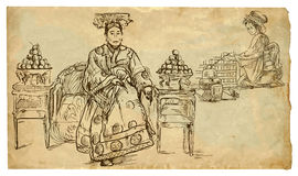 Noblewoman and girl preparing tea. A little story from Ancient China - Noblewoman and girl preparing tea (tea ceremony). Description: drawing consists of at Stock Images