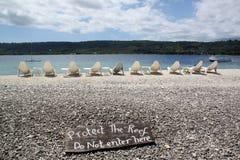 Nobody. On the beach on island Hideaway in Vanuatu stock photo