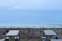 Nobody in cafe over sea view. And blue sky Royalty Free Stock Images