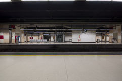 Nobody at central station. Empty train station in Barcelona, Spain Stock Images