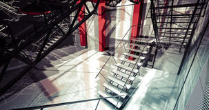 Nobody. Modern industrial interior, stairs, clean space in indus Stock Photo