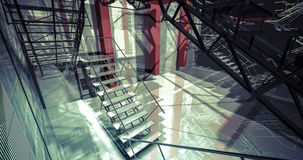 Nobody. Modern industrial interior, stairs, clean space in indus Royalty Free Stock Photography