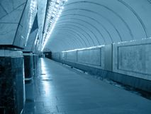 subway tunnel, perspective fluorescent road concep Stock Photo