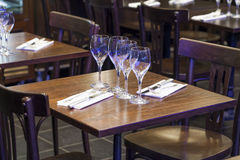 Nobody yet at the restaurant for dinner or lunch Royalty Free Stock Image
