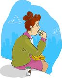 Nobody see me!. A woman is eating a sandwich stock illustration