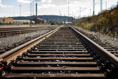 Nobody at a straight railroad track outdoors in daylight Stock Photos