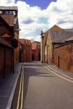 Nobody on street. Empty street with brewery.uk Stock Image