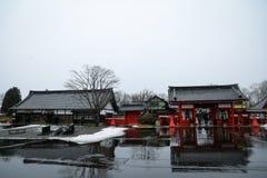 Noboribetsu datumjidaimura under vinter royaltyfri fotografi