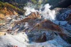 Noboribetsu, Hokkaido, Giappone alla valle dell'inferno di Jigokudani Fotografia Stock Libera da Diritti