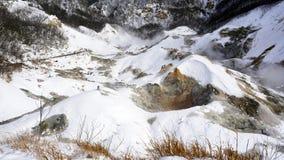 Noboribetsu onsen snow winter landscape hell valley closeup Stock Photo