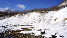 Noboribetsu onsen und überbrücken den Höllental-Schneewinter bluesky Stockfotos