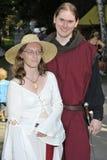 Nobre e mulher no festival medieval, Nure Foto de Stock Royalty Free