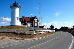 Nobska Lighthouse on Cape Cod. Nobksa Lighthouse on Cape Cod near Falmouth stock image