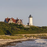 Nobska Lighthouse Cape Cod Massachusetts. Nobska Lighthouse, Woods Hole, Falmouth, Cape Cod, Massachusetts USA seen from the beach. This Cape Cod landmark is a Royalty Free Stock Photos