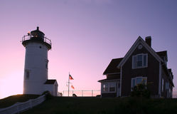 Nobska Lighthouse at Dawn. The Nobska Lighthouse in Massachusetts at Dawn Stock Image