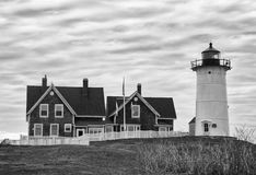 Nobska Point Lighthouse in Black and White Stock Photography