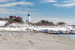 Nobska Point Lighthouse in Snow Royalty Free Stock Photos