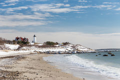 Nobska Point Lighthouse in Snow Royalty Free Stock Photography