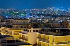 Noc Ateny, Grecja Zdjęcie Stock