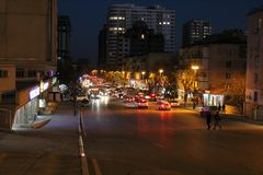 Noc Baku Azerbejdżan światła Miastowy zdjęcie royalty free