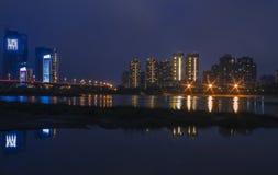 Noc brzeg rzeki Fotografia Royalty Free