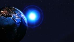 Noc cienia ziemia Neonowy o?wietlenie przestrze? globalny P?tli animacja ilustracja wektor